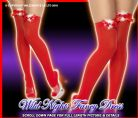 CHRISTMAS FANCY DRESS # RED RIBBON MARABOU STOCKINGS